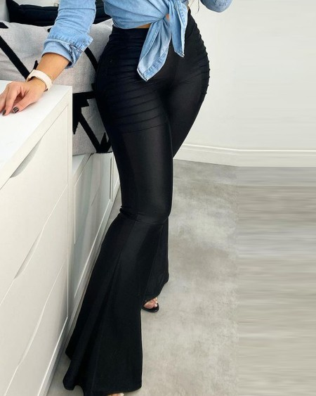 Pocket Design Ruched Bootcut Pants