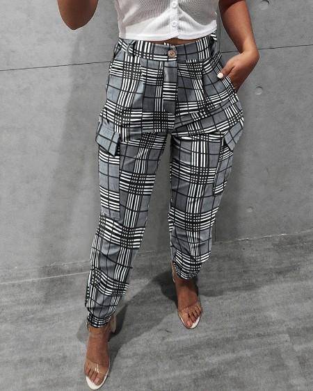 Pocket Design Checkers Print Pants