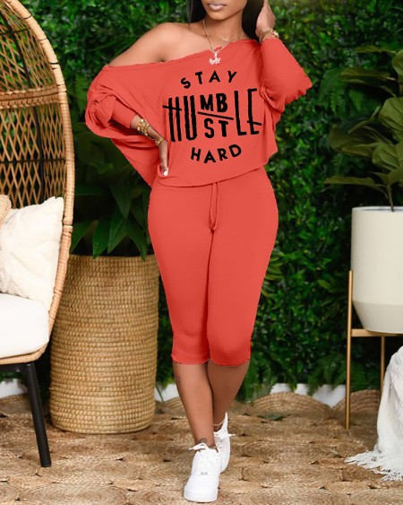 Plus Size Batwing Sleeve Letter Print Top & Drawstring Pants Set