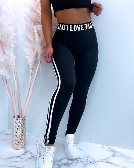 High Elastic Letter Contrast Taped Side Skinny Sweatpants