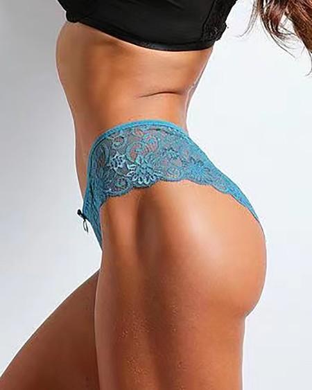 Crochet Lace Bowknot Decor Skinny Panty