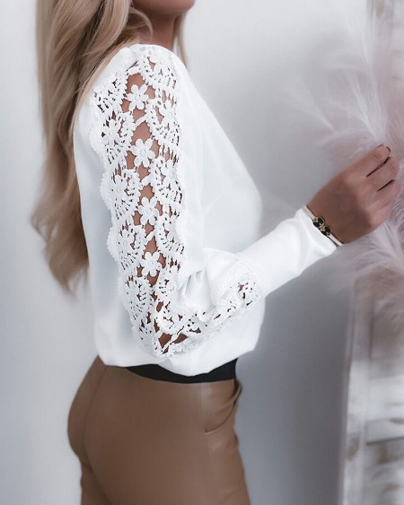 Contrast Lace Long Sleeve Button Front Top
