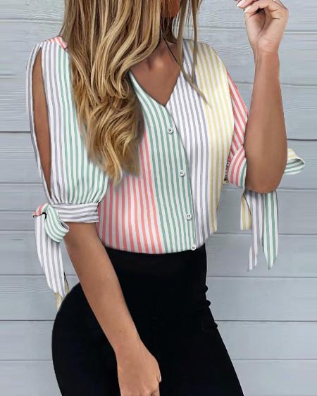 Colorful Stripe  Print Lantern Sleeve Shirt