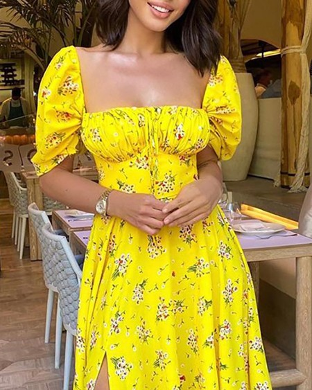Floral Print Ruched High Slit Maxi Dress