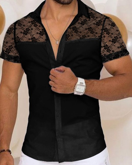 Lace Patchwork Short Sleeve Skinny Button-up Shirts