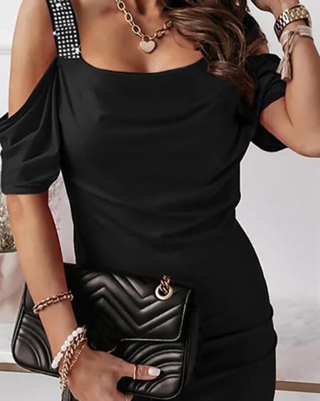 Cold Shoulder Studded Bodycon Dress
