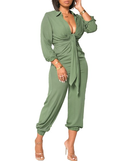 Long Sleeve Plunge Ruched Tied Front Jumpsuit