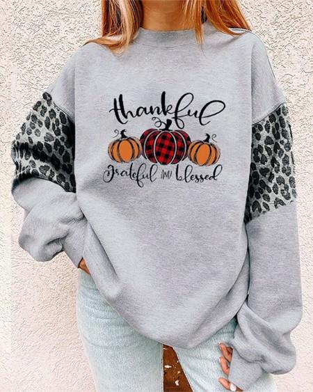 Halloween Pumpkin Letter Leopard Print Long Sleeve Sweatshirt