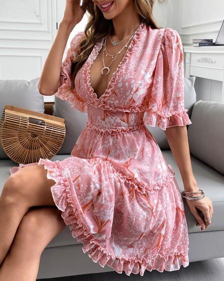 Floral Print Frill Hem Backless Casual Dress