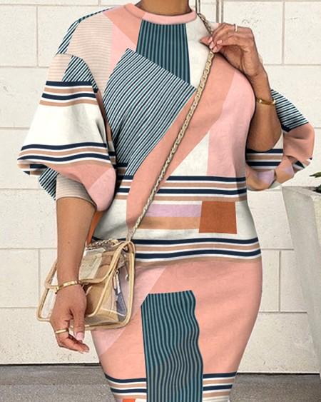 Geometric Print Lantern Sleeve Sweatshirt Dress