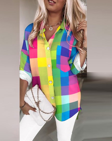 Colorful Plaid Chain Link V-Back Buttoned Casual Shirt