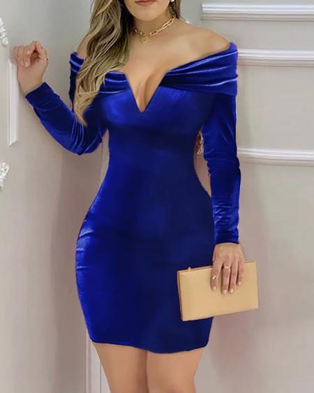 Off Shoulder Velvet Ruched Bodycon Dress