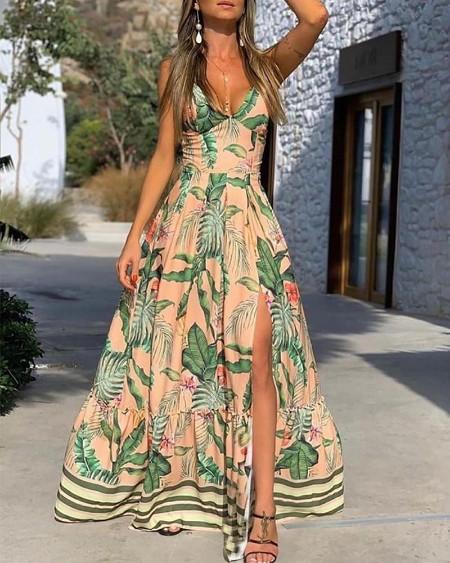 Tropical Print High Slit Maxi Dress