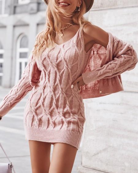 Braided Long Sleeve Cardigan & V Neck Dress