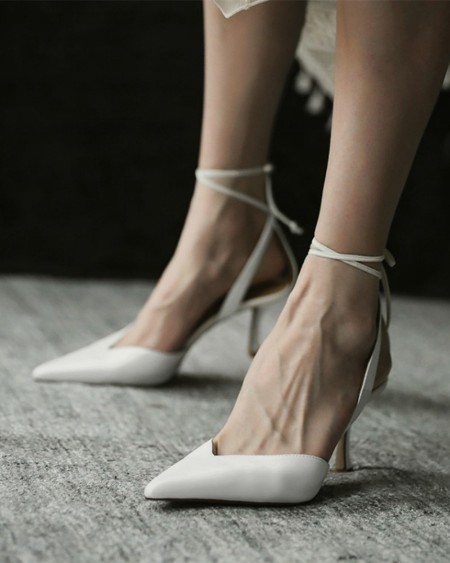 Solid Strap Bandage Pointed-toe High Heel Sandals