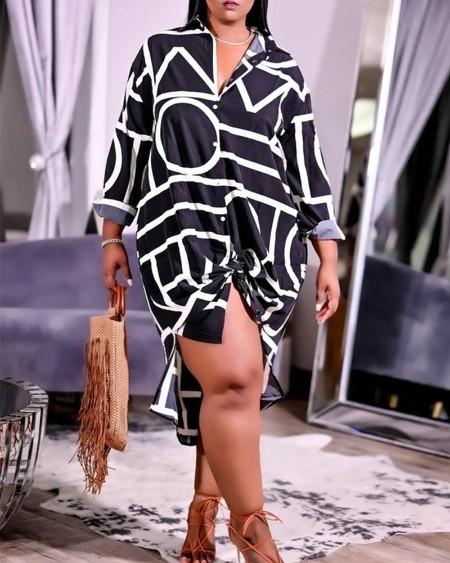 Plus Size Geometric Print High Low Split Hem Button Up Shirt Dress