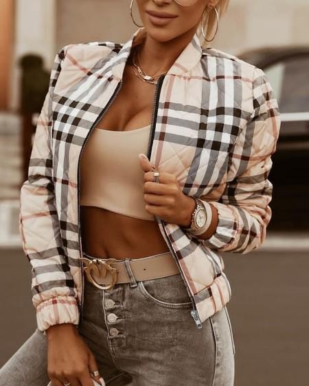 Plaid Print Long Sleeve Zipper Up Baseball Jacket
