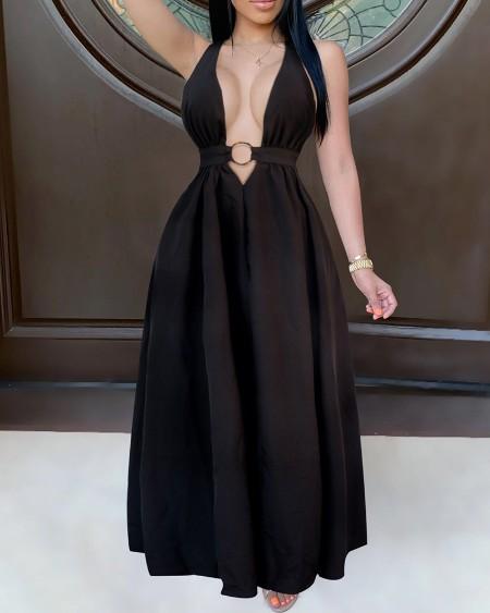 Halter Backless Plain Maxi Dress