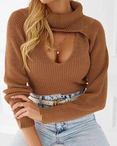 Solid Crop Ribbed Knit Top With Super Crop Turtleneck Sweater
