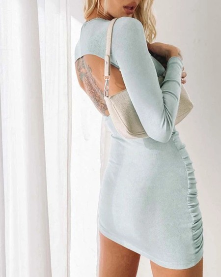 Solid Long Sleeve Cut-out Slim Bodycon Mini Dress