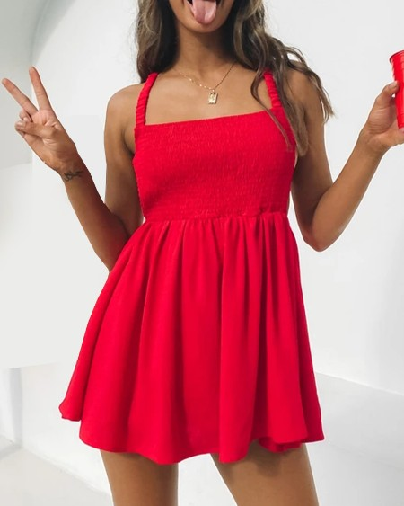 Solid Color Backless Cross Strap Sleeveless Mini Dress