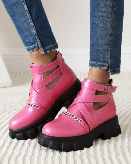 Womens Chain Cross Straps Decor Round Toe Hollow-out Martin Boots