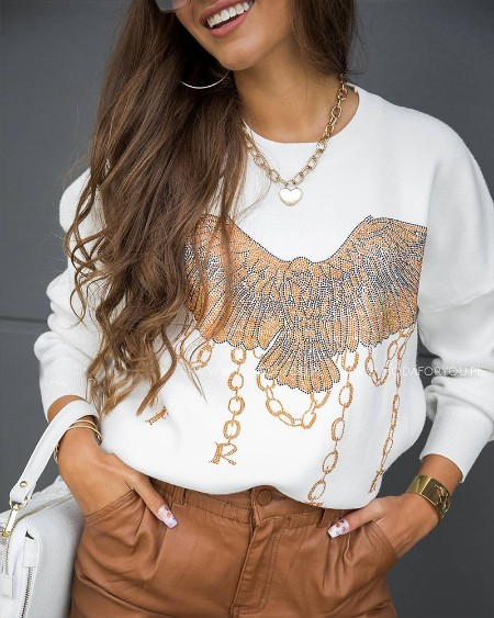 Eagle Pattern Letter Print Long Sleeve Sweatshirt