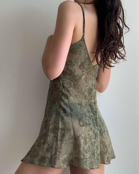 All Over Print Sling Slit Mini Dress Babydolls