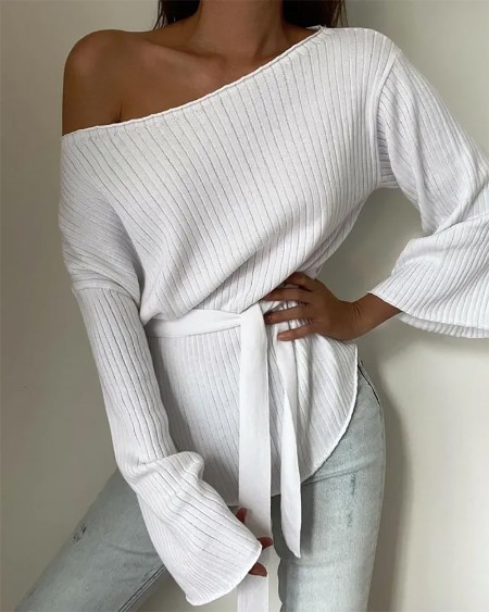 Bell Sleeve Tied Detail Knit Top