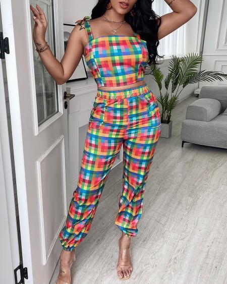 Plaid Colorblock Crop Top & Pocket Design Pants Set