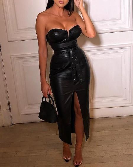 Solid Tube Slit Coated PU Leather Dress