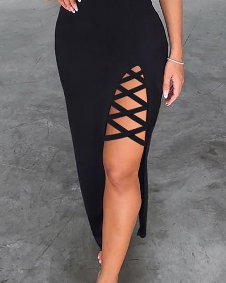 Spaghetti Strap Lace-up Slit Party Dress