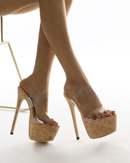 Round-toe Clear Straps Open-toe Stiletto Heels