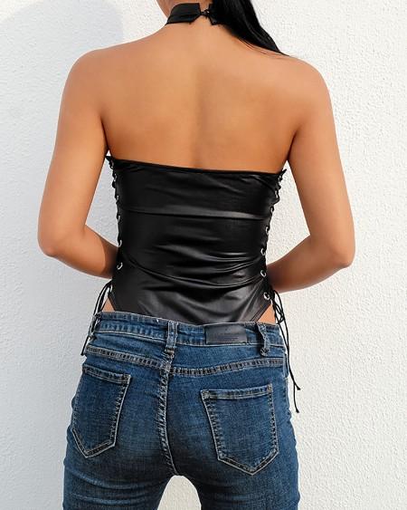 Halter Eyelet Lace-up PU Leather Bodysuit