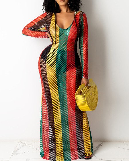 Colorblock Hollow Out Hooded Cover Up Dress