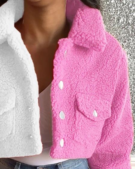 Colorblock Pocket Button Design Fluffy Crop Shacket