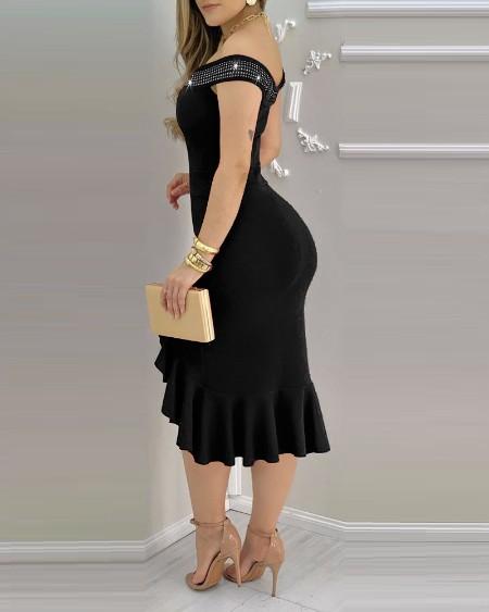 Off Shoulder Rhinestone Decor Slit Ruffles Party Dress