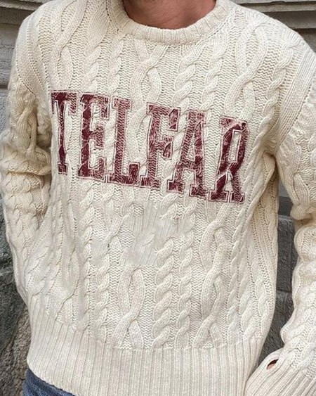Mens Letter Printed Knit Long Sleeve Sweater