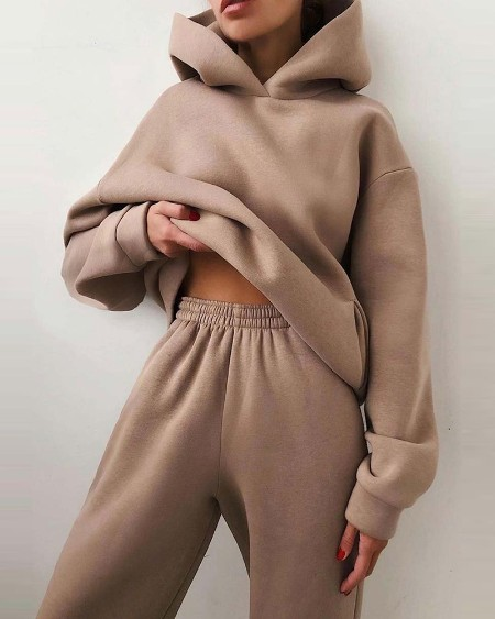 Long Sleeve Hooded Top & Pocket Design Pants Set