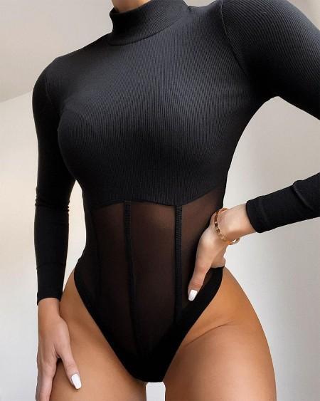 Contrast Mesh Long Sleeve Knitted Bodysuit