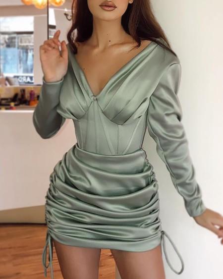 V Neck Plain Long Sleeve Ruched Drawstring Bodycon Dress