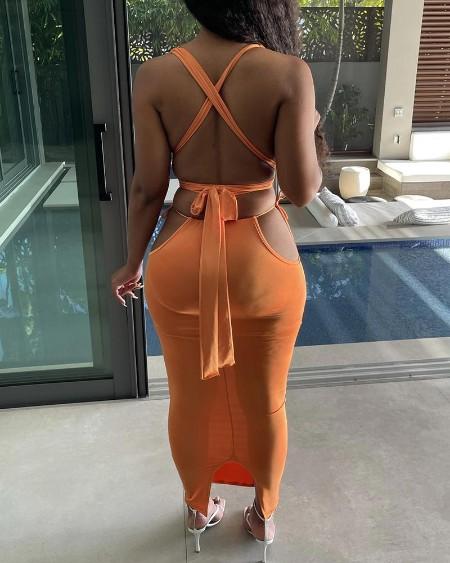 Thick Strap Plain Crop Top & Cutout Skirt Set