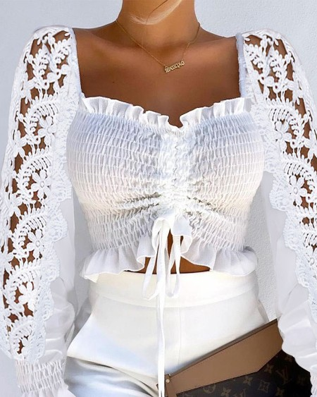 Plain Contrast Lace Flared Sleeves Frill Hem Drawstring Shirred Crop Top