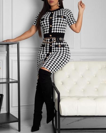 Houndstooth Print Short Sleeve Bodycon Dress