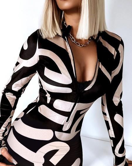 Letter Print Zipper Design Long Sleeve Thumb Hole Bodycon Dress