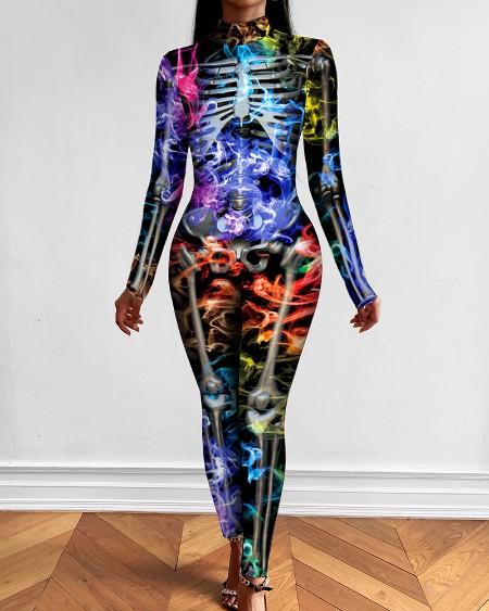 Halloween Colorful Skeleton Print Costume Jumpsuit