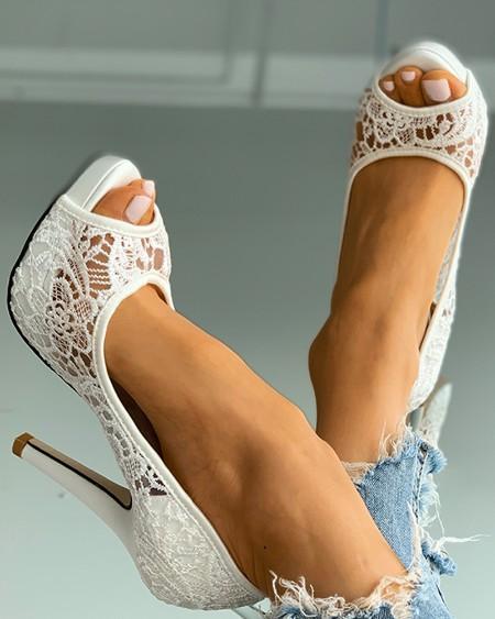 Peep Toe Crochet Lace Heeled Sandals