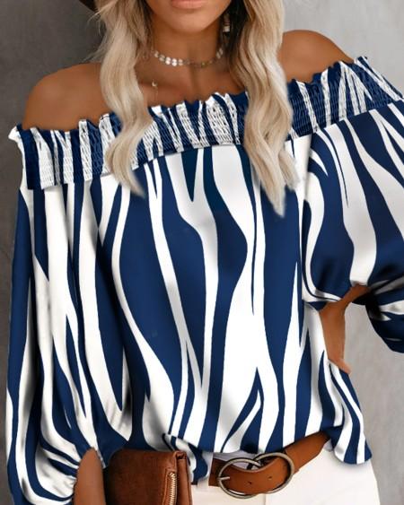 Off Shoulder Stripe Print Lantern Sleeve Top