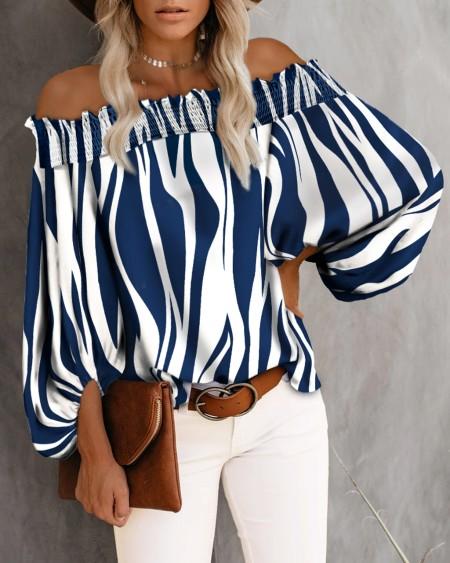 Off Shoulder Stripe Print Long Sleeve Smoking Blouse