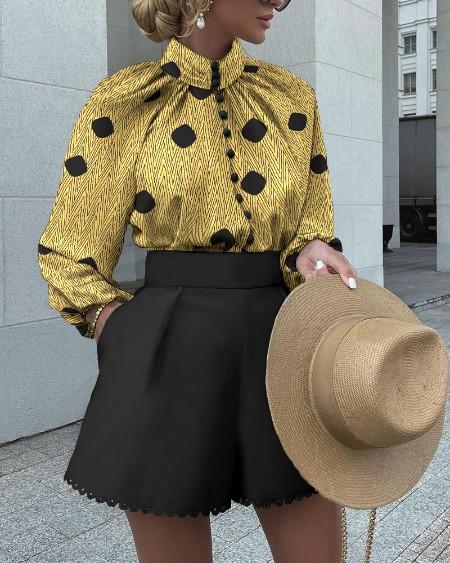 Polka Dot Button Decor Long Sleeve Top & Solid Shorts Set